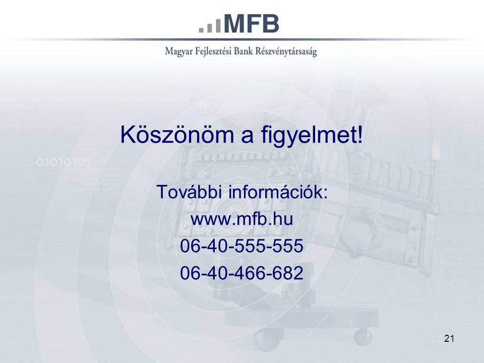 21 Köszönöm a figyelmet! További információk: www.mfb.hu 06-40-555-555 06-40-466-682