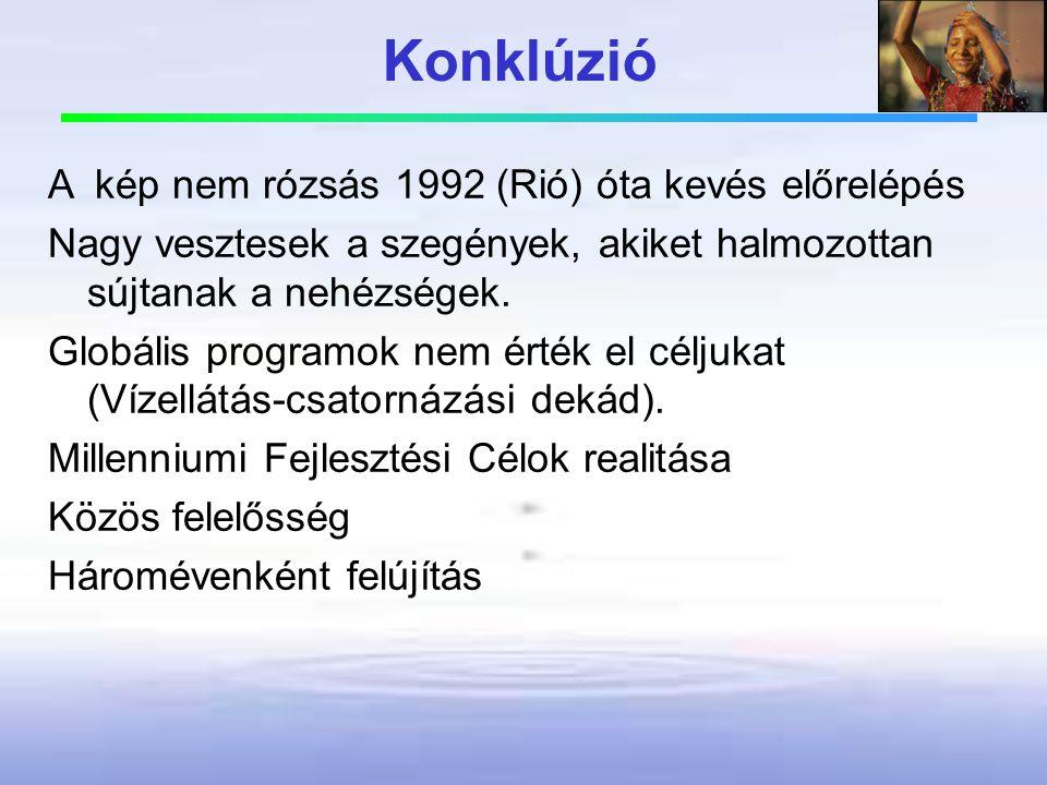 Konklúzió A kép nem rózsás 1992 (Rió) óta kevés előrelépés Nagy vesztesek a szegények, akiket halmozottan sújtanak a nehézségek. Globális programok ne
