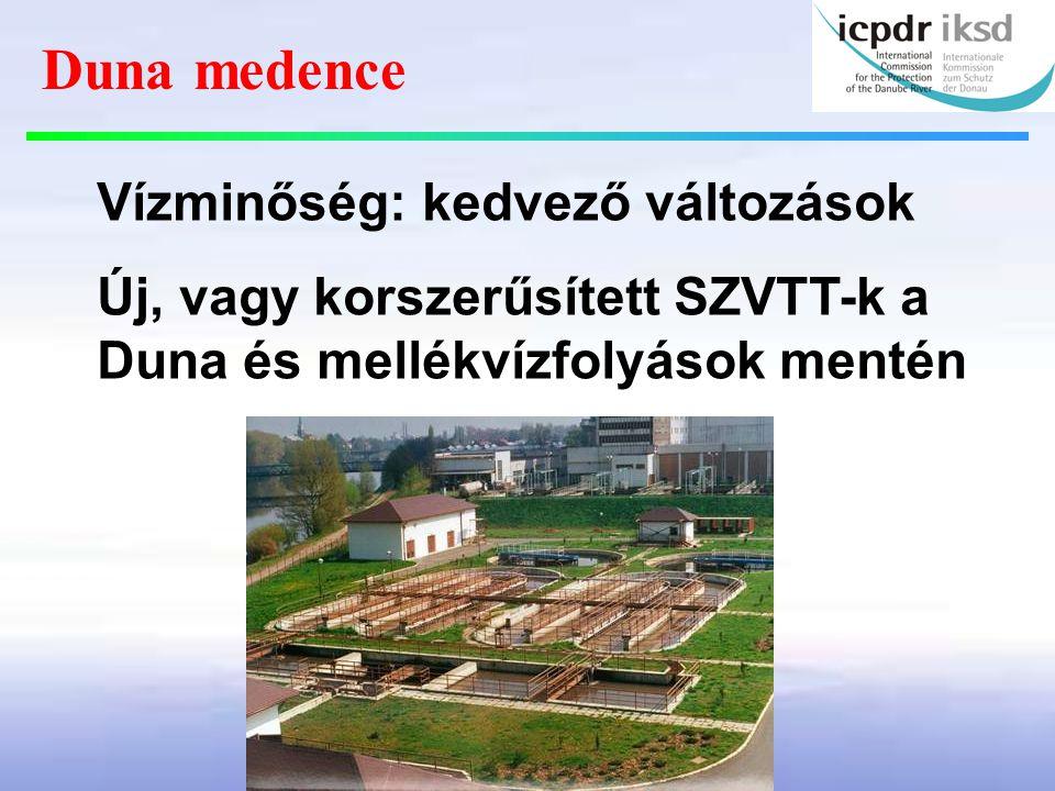 Vízminőség: kedvező változások Új, vagy korszerűsített SZVTT-k a Duna és mellékvízfolyások mentén