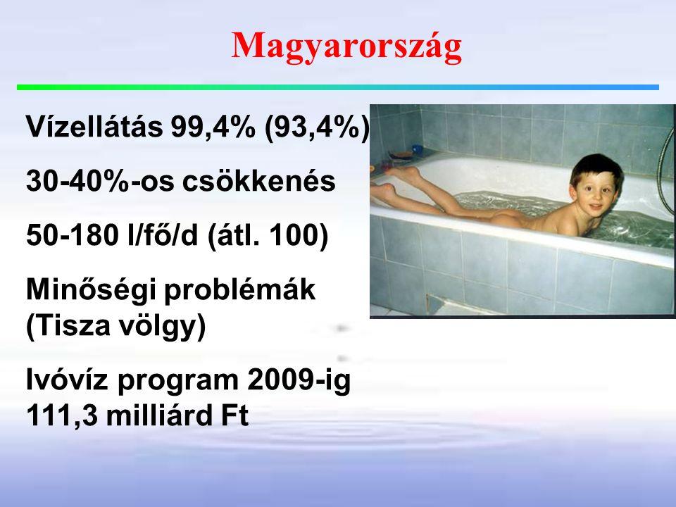 Magyarország Vízellátás 99,4% (93,4%) 30-40%-os csökkenés 50-180 l/fő/d (átl. 100) Minőségi problémák (Tisza völgy) Ivóvíz program 2009-ig 111,3 milli