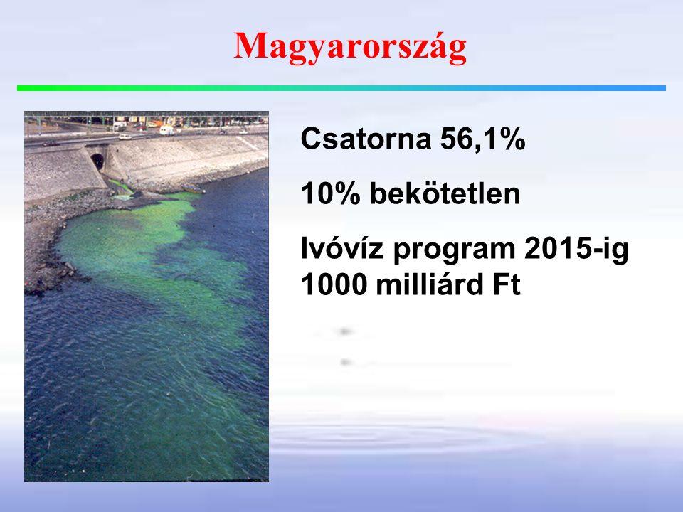 Magyarország Csatorna 56,1% 10% bekötetlen Ivóvíz program 2015-ig 1000 milliárd Ft