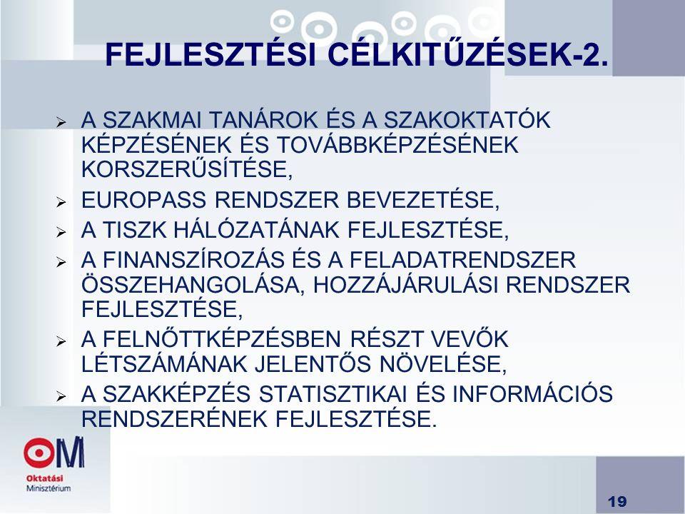 19 FEJLESZTÉSI CÉLKITŰZÉSEK-2.  A SZAKMAI TANÁROK ÉS A SZAKOKTATÓK KÉPZÉSÉNEK ÉS TOVÁBBKÉPZÉSÉNEK KORSZERŰSÍTÉSE,  EUROPASS RENDSZER BEVEZETÉSE,  A