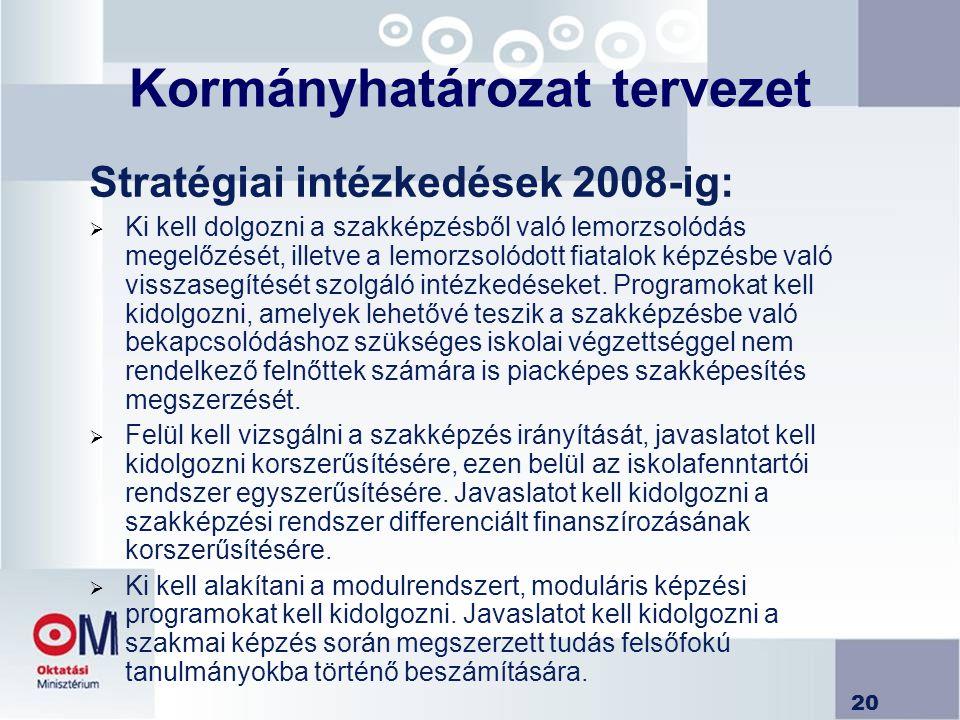 20 Kormányhatározat tervezet Stratégiai intézkedések 2008-ig:  Ki kell dolgozni a szakképzésből való lemorzsolódás megelőzését, illetve a lemorzsolód