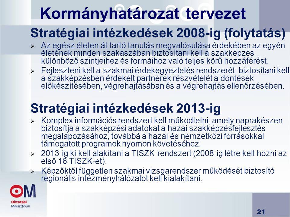 21 Kormányhatározat tervezet Stratégiai intézkedések 2008-ig (folytatás)  Az egész életen át tartó tanulás megvalósulása érdekében az egyén életének