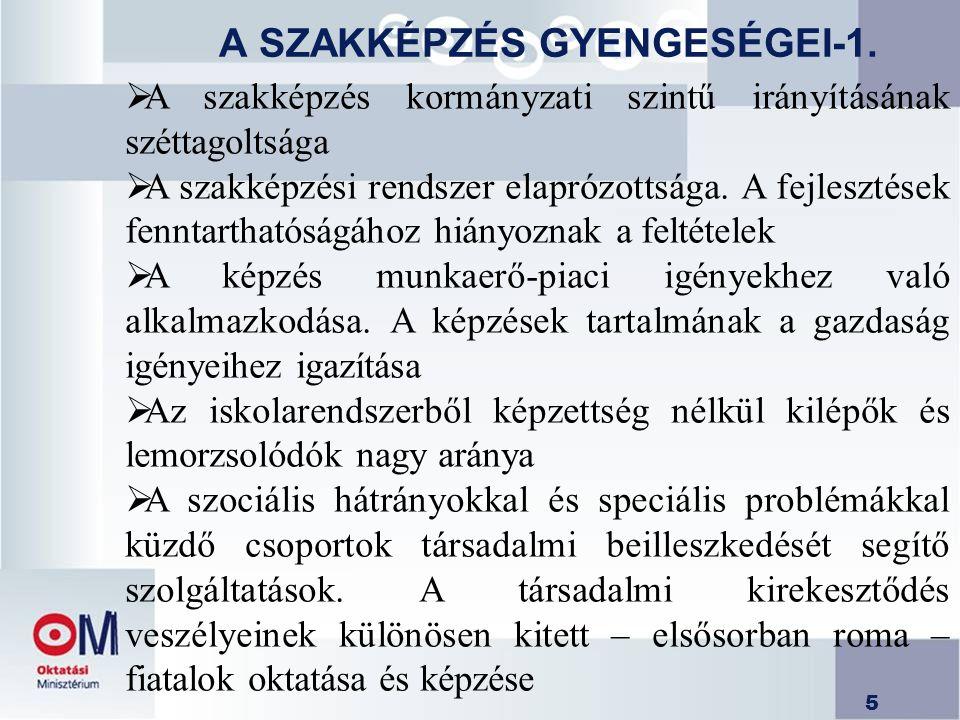 5 A SZAKKÉPZÉS GYENGESÉGEI-1.  A szakképzés kormányzati szintű irányításának széttagoltsága  A szakképzési rendszer elaprózottsága. A fejlesztések f