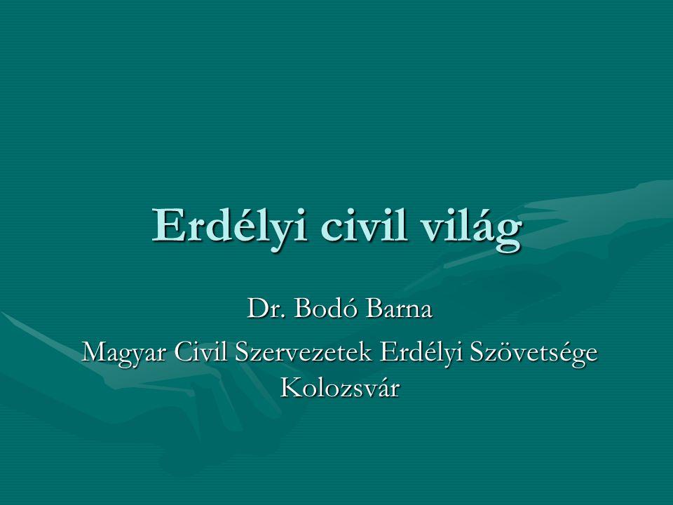 Erdélyi civil világ Dr. Bodó Barna Magyar Civil Szervezetek Erdélyi Szövetsége Kolozsvár