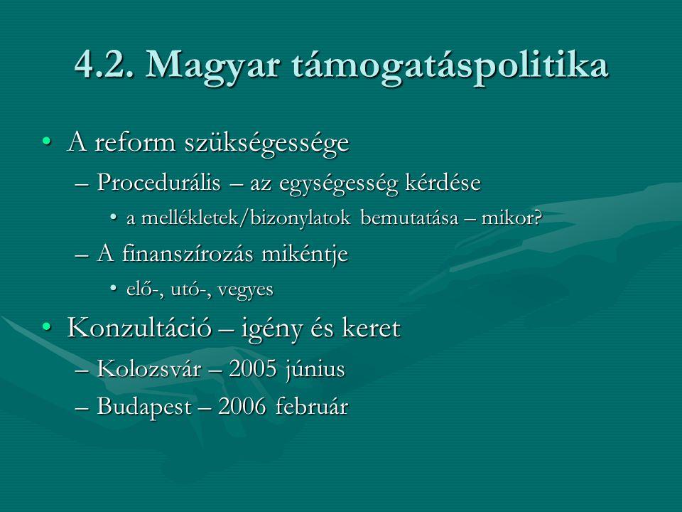 4.2. Magyar támogatáspolitika A reform szükségességeA reform szükségessége –Procedurális – az egységesség kérdése a mellékletek/bizonylatok bemutatása