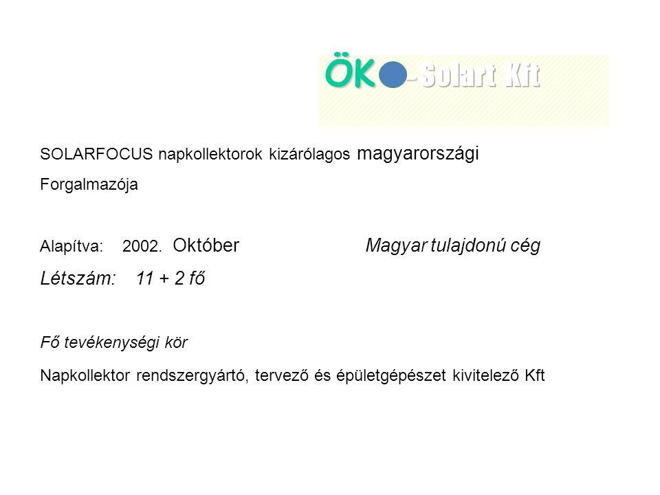 SOLARFOCUS napkollektorok kizárólagos magyarországi Forgalmazója Alapítva: 2002.