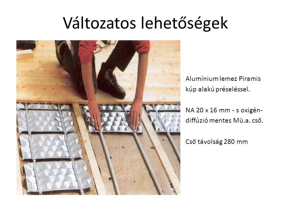 1.PYD-KS parafaőrlemény szigetelés /1 x 10 mm / a nyers falra hosszában 2.Padlófűtés cső 20 mm x 16 mm 3.PYD-Alu hőelosztó lemez / piramis csúcsokkal
