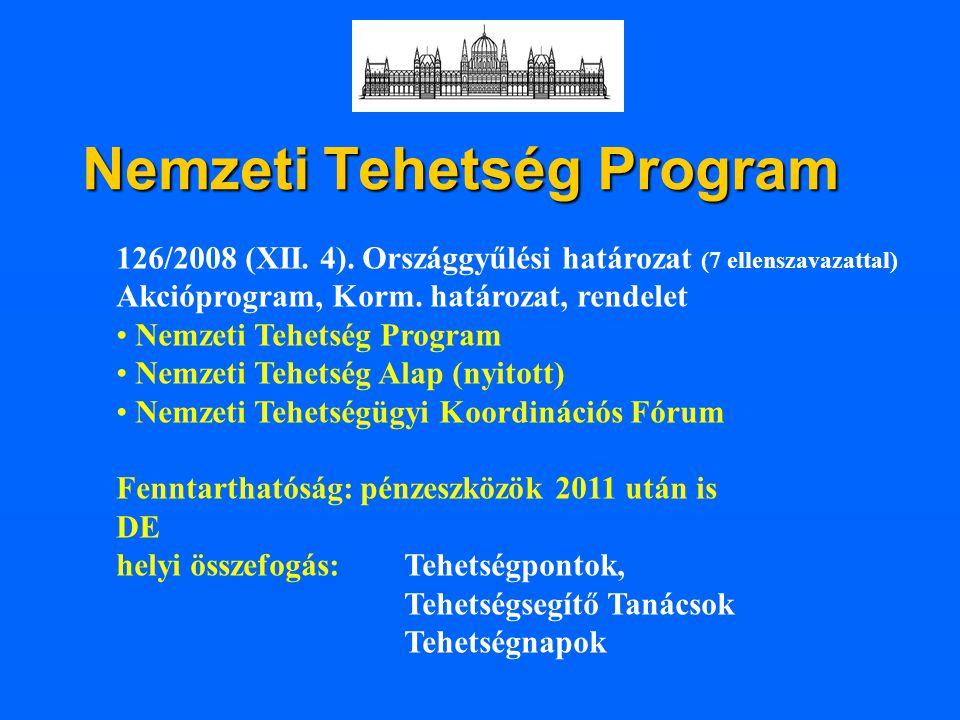 Nemzeti Tehetség Program 126/2008 (XII. 4). Országgyűlési határozat (7 ellenszavazattal) Akcióprogram, Korm. határozat, rendelet Nemzeti Tehetség Prog