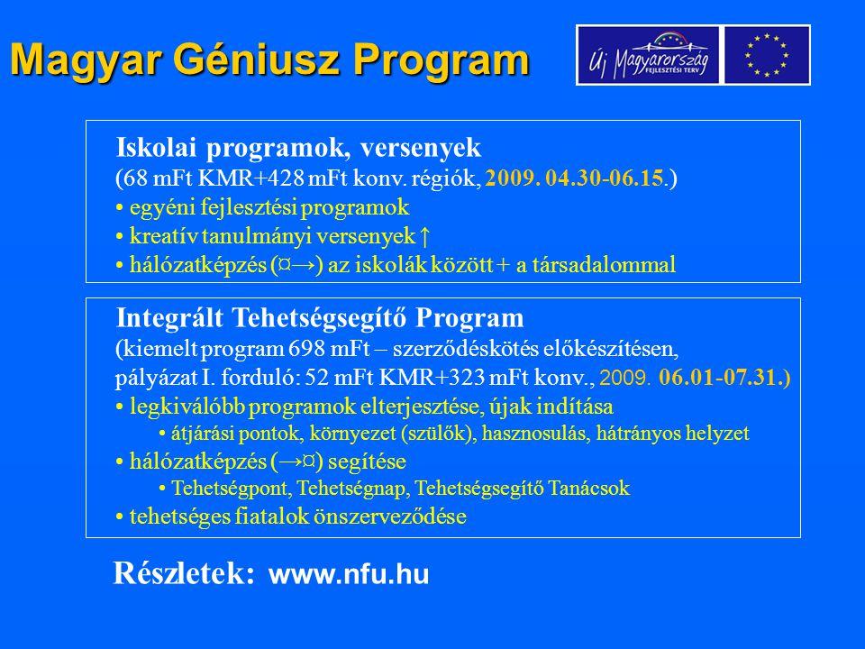 Magyar Géniusz Program Iskolai programok, versenyek (68 mFt KMR+428 mFt konv. régiók, 2009. 04.30-06.15.) egyéni fejlesztési programok kreatív tanulmá