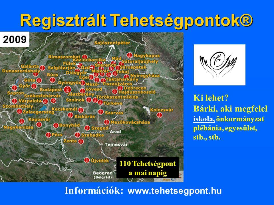 Regisztrált Tehetségpontok® Információk: www.tehetsegpont.hu Ki lehet? Bárki, aki megfelel iskola, önkormányzat plébánia, egyesület, stb., stb. 2009 1