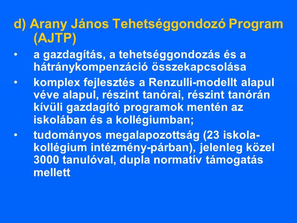 d) Arany János Tehetséggondozó Program (AJTP) a gazdagítás, a tehetséggondozás és a hátránykompenzáció összekapcsolása komplex fejlesztés a Renzulli-m