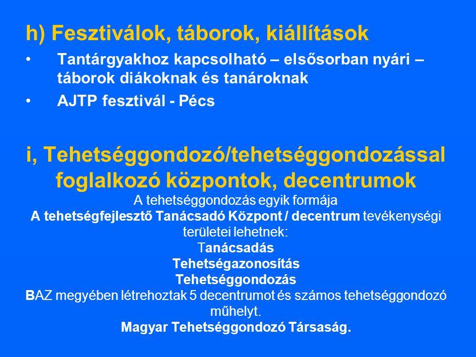 h) Fesztiválok, táborok, kiállítások Tantárgyakhoz kapcsolható – elsősorban nyári – táborok diákoknak és tanároknak AJTP fesztivál - Pécs i, Tehetségg