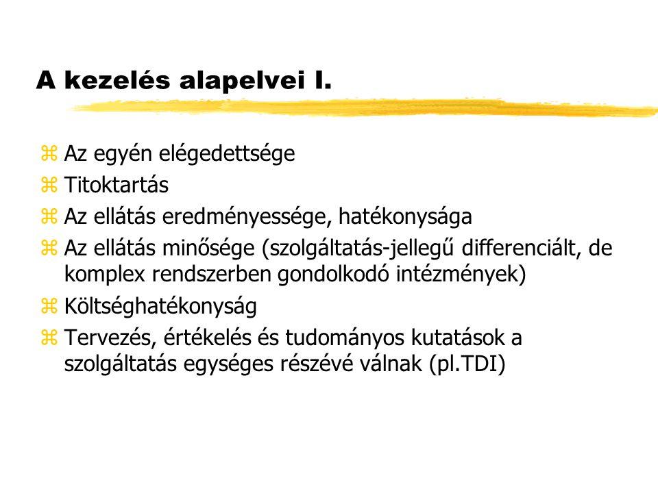 A kezelés alapelvei I. zAz egyén elégedettsége zTitoktartás zAz ellátás eredményessége, hatékonysága zAz ellátás minősége (szolgáltatás-jellegű differ