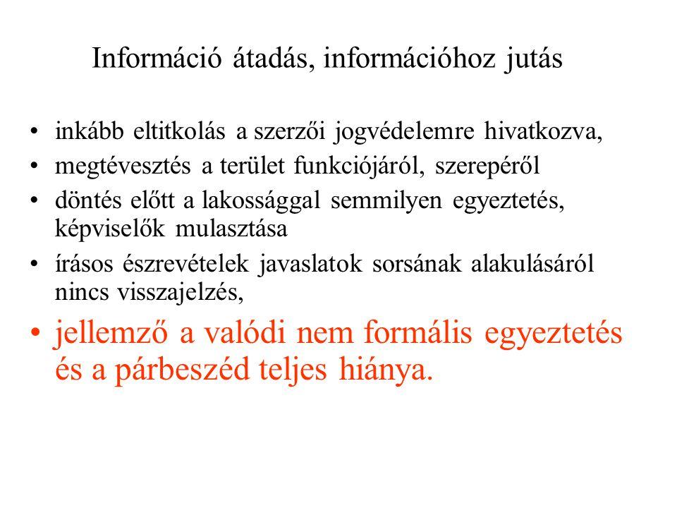 Információ átadás, információhoz jutás inkább eltitkolás a szerzői jogvédelemre hivatkozva, megtévesztés a terület funkciójáról, szerepéről döntés előtt a lakossággal semmilyen egyeztetés, képviselők mulasztása írásos észrevételek javaslatok sorsának alakulásáról nincs visszajelzés, jellemző a valódi nem formális egyeztetés és a párbeszéd teljes hiánya.