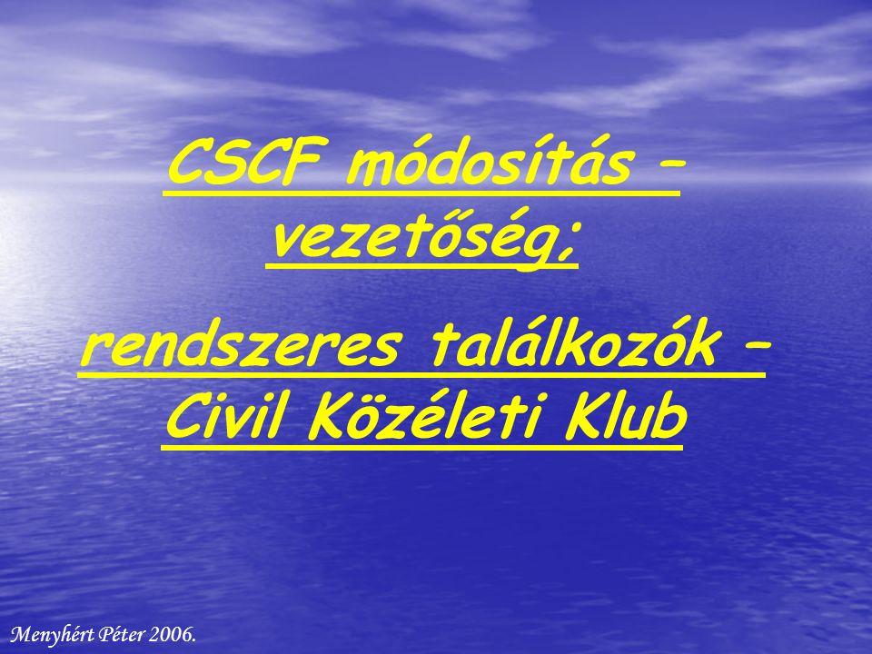 CSCF módosítás – vezetőség; rendszeres találkozók – Civil Közéleti Klub Menyhért Péter 2006.