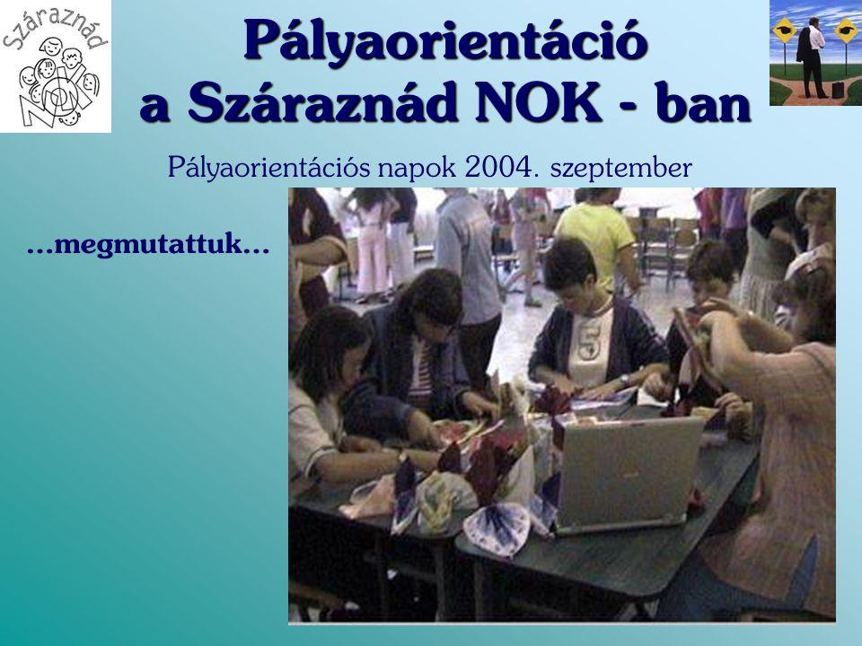 Pályaorientáció a Száraznád NOK - ban Pályaorientációs napok 2004. szeptember …megmutattuk…