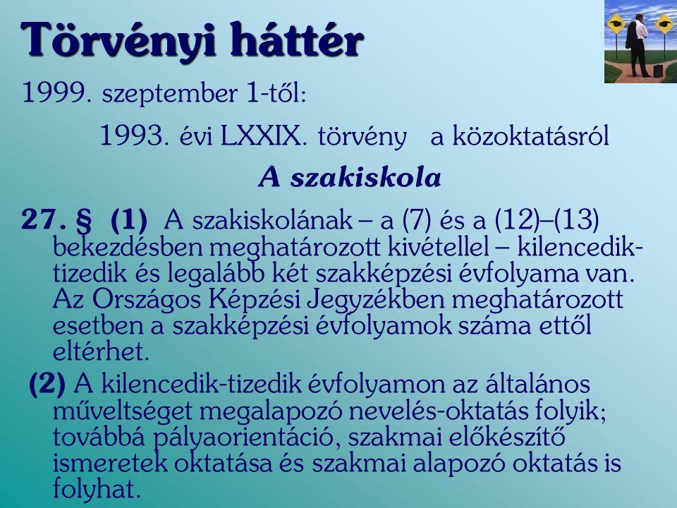 Törvényi háttér 1999. szeptember 1-től: 1993. évi LXXIX. törvény a közoktatásról A szakiskola 27. § (1) A szakiskolának – a (7) és a (12)–(13) bekezdé