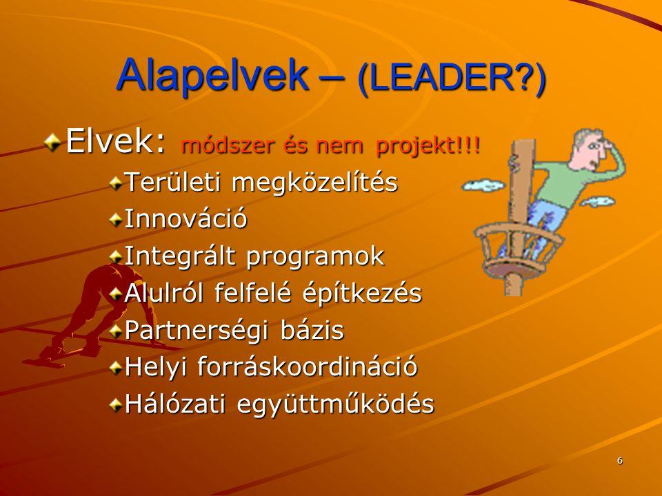 6 Alapelvek – (LEADER?) Elvek: módszer és nem projekt!!! Területi megközelítés Innováció Integrált programok Alulról felfelé építkezés Partnerségi báz