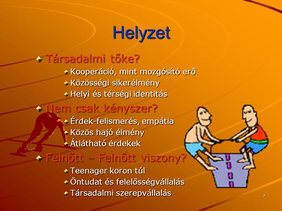 7 Helyzet Társadalmi tőke? Kooperáció, mint mozgósító erő Közösségi sikerélmény Helyi és térségi identitás Nem csak kényszer? Érdek-felismerés, empáti