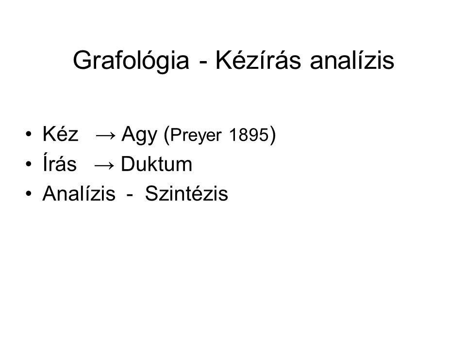 Grafológia - Kézírás analízis Kéz → Agy ( Preyer 1895 ) Írás → Duktum Analízis - Szintézis