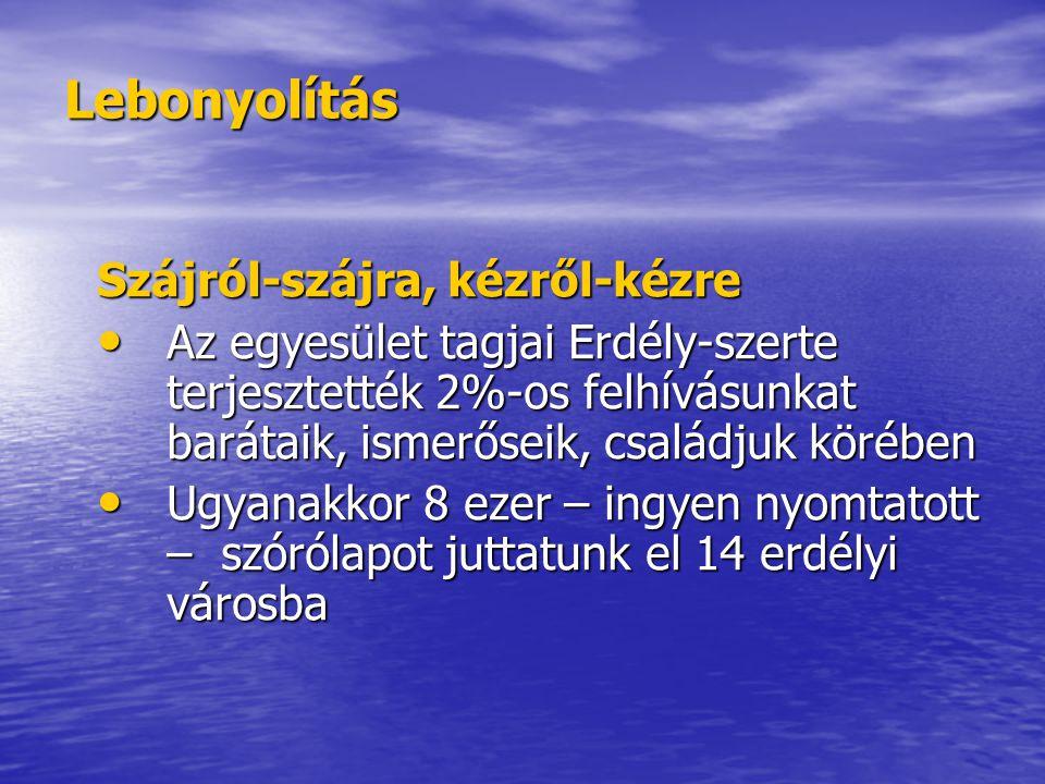 Lebonyolítás Szájról-szájra, kézről-kézre Az egyesület tagjai Erdély-szerte terjesztették 2%-os felhívásunkat barátaik, ismerőseik, családjuk körében Az egyesület tagjai Erdély-szerte terjesztették 2%-os felhívásunkat barátaik, ismerőseik, családjuk körében Ugyanakkor 8 ezer – ingyen nyomtatott – szórólapot juttatunk el 14 erdélyi városba Ugyanakkor 8 ezer – ingyen nyomtatott – szórólapot juttatunk el 14 erdélyi városba