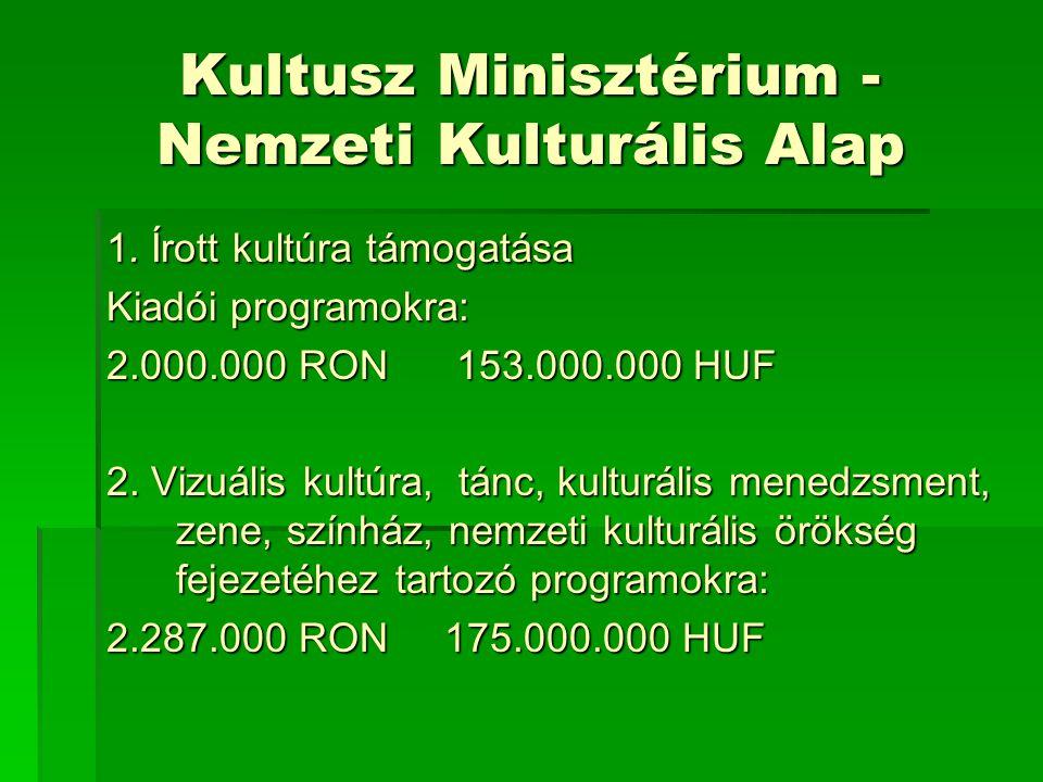 Kultusz Minisztérium - Nemzeti Kulturális Alap 1.
