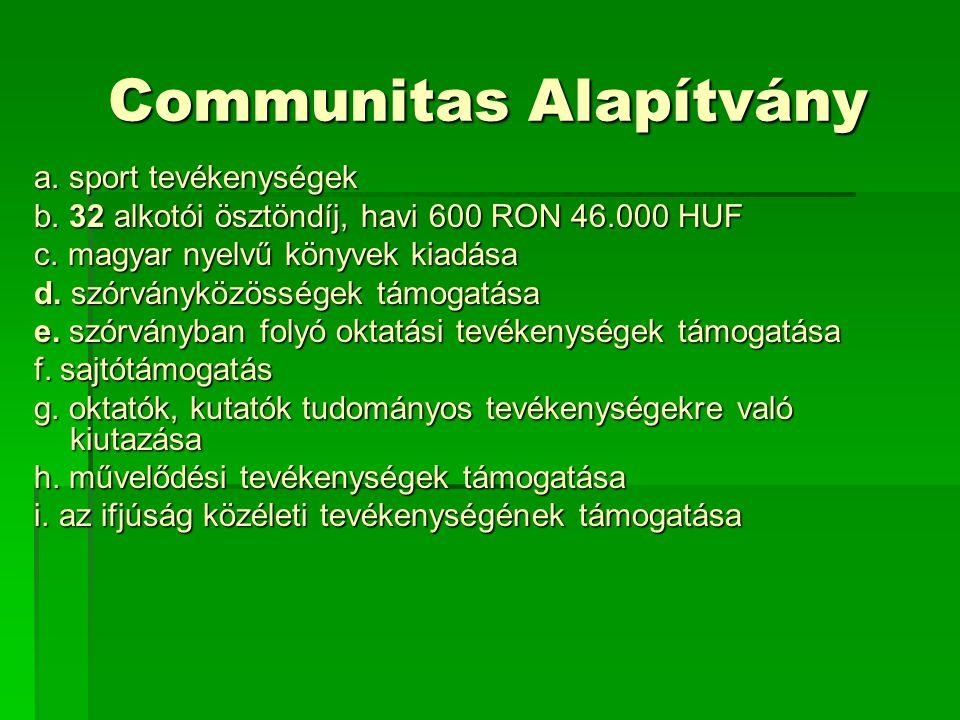 Communitas Alapítvány a. sport tevékenységek b. 32 alkotói ösztöndíj, havi 600 RON 46.000 HUF c.