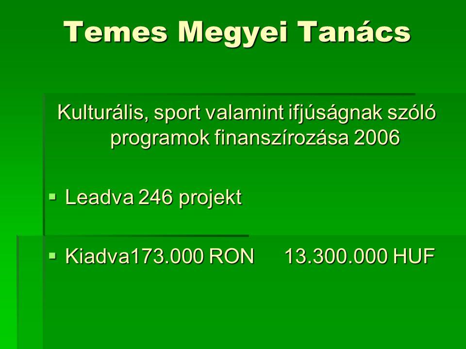 Temes Megyei Tanács Kulturális, sport valamint ifjúságnak szóló programok finanszírozása 2006  Leadva 246 projekt  Kiadva173.000 RON 13.300.000 HUF