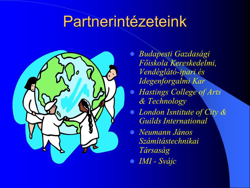 Partnerintézeteink Budapesti Gazdasági Főiskola Kereskedelmi, Vendéglátó-ipari és Idegenforgalmi Kar Hastings College of Arts & Technology London Isntitute of City & Guilds International Neumann János Számítástechnikai Társaság IMI - Svájc