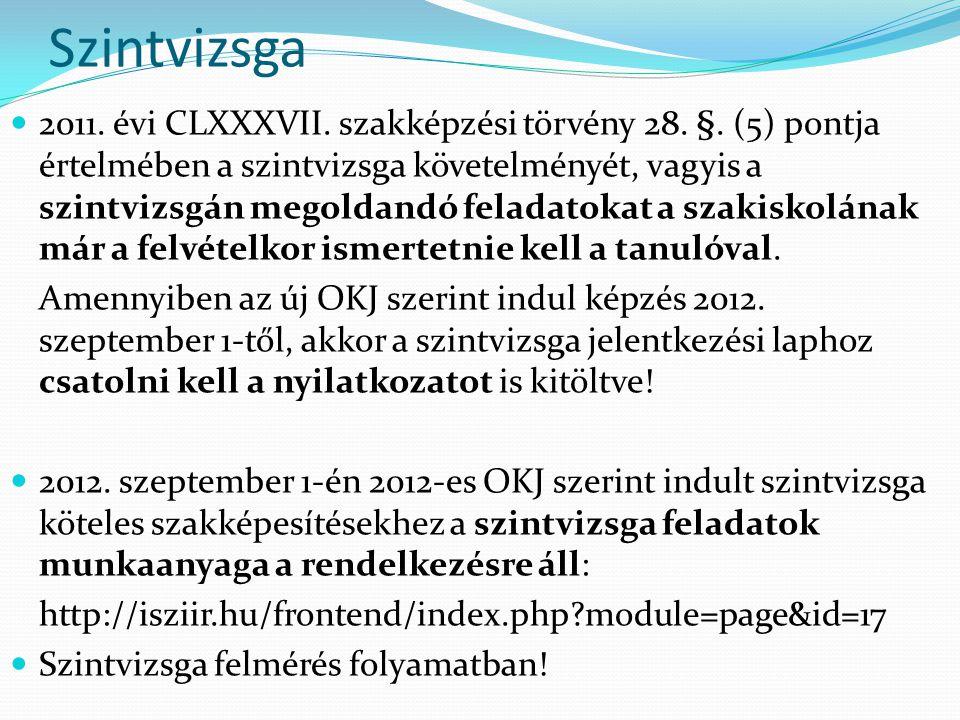 Szintvizsga 2011.évi CLXXXVII. szakképzési törvény 28.
