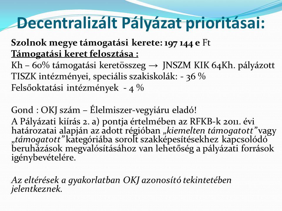 Decentralizált Pályázat prioritásai: Szolnok megye támogatási kerete: 197 144 e Ft Támogatási keret felosztása : Kh – 60% támogatási keretösszeg → JNSZM KIK 64Kh.