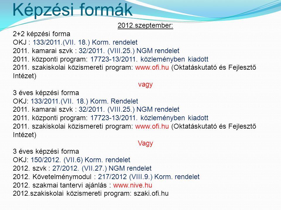 Képzési formák 2012.szeptember: 2+2 képzési forma OKJ : 133/2011.(VII.