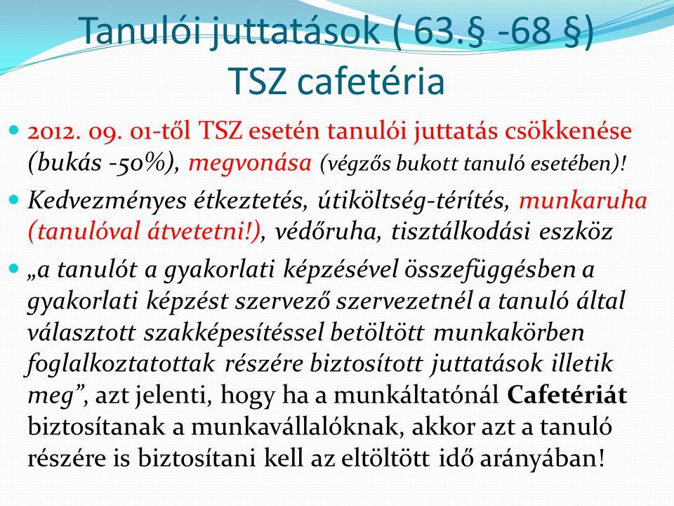 Tanulói juttatások ( 63.§ -68 §) TSZ cafetéria 2012.
