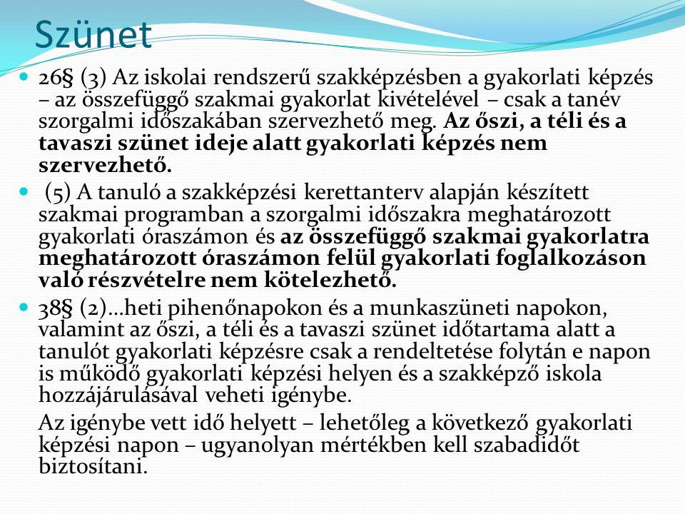 Szünet 26§ (3) Az iskolai rendszerű szakképzésben a gyakorlati képzés – az összefüggő szakmai gyakorlat kivételével – csak a tanév szorgalmi időszakában szervezhető meg.