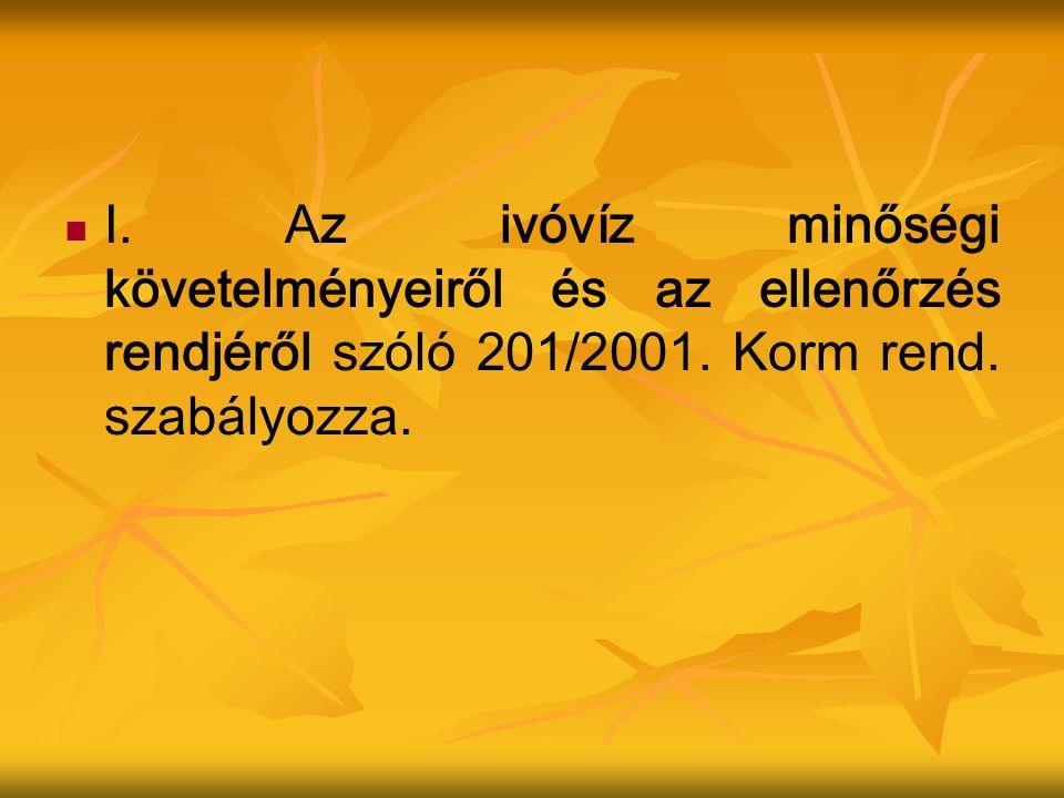 I.Az ivóvíz minőségi követelményeiről és az ellenőrzés rendjéről szóló 201/2001.