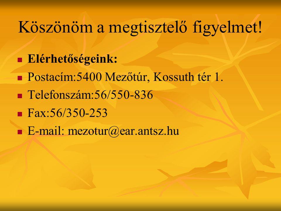 Köszönöm a megtisztelő figyelmet.Elérhetőségeink: Postacím:5400 Mezőtúr, Kossuth tér 1.