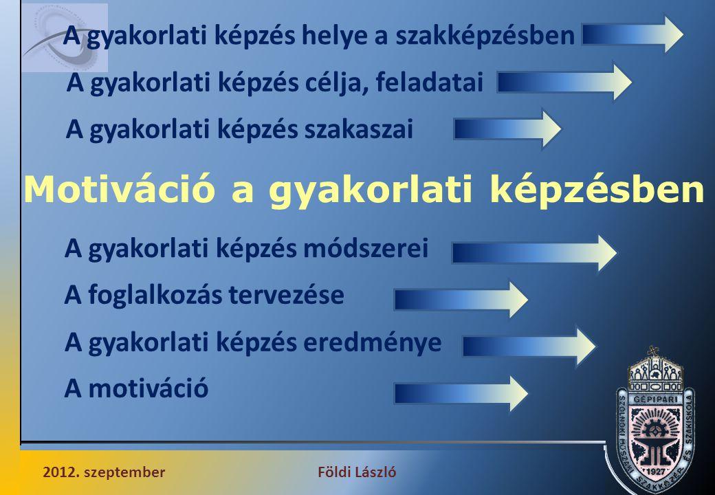 Motiváció a gyakorlati képzésben 2012.