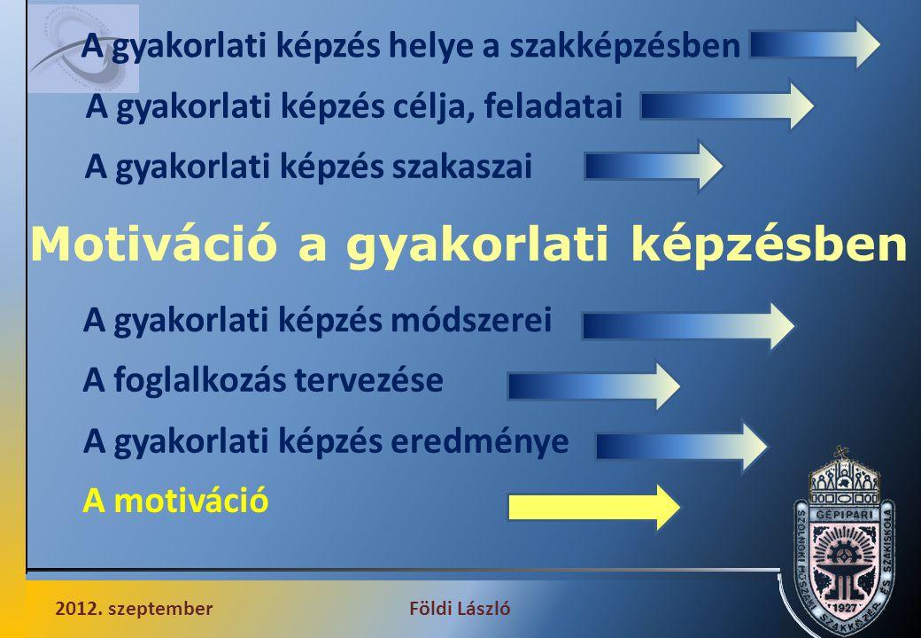 Motiváció a gyakorlati képzésben 2012. szeptemberFöldi László A gyakorlati képzés helye a szakképzésben A gyakorlati képzés célja, feladatai A gyakorl