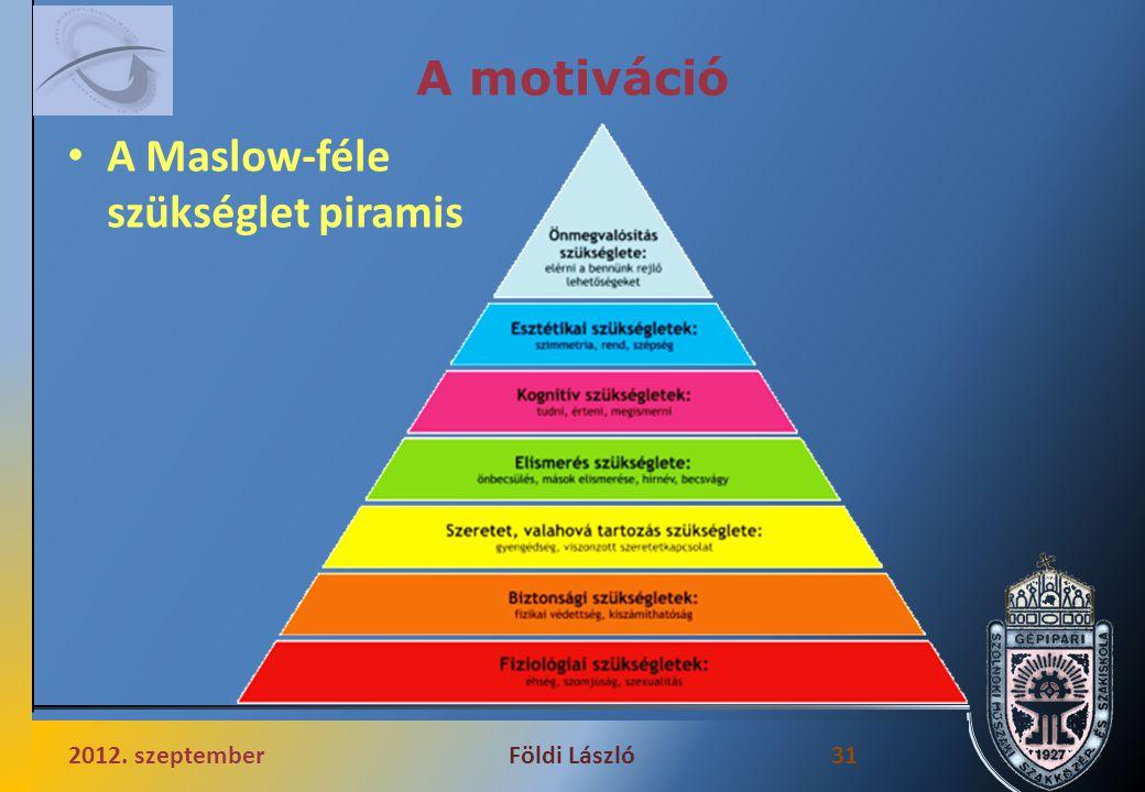 A motiváció A Maslow-féle szükséglet piramis 2012. szeptemberFöldi László31