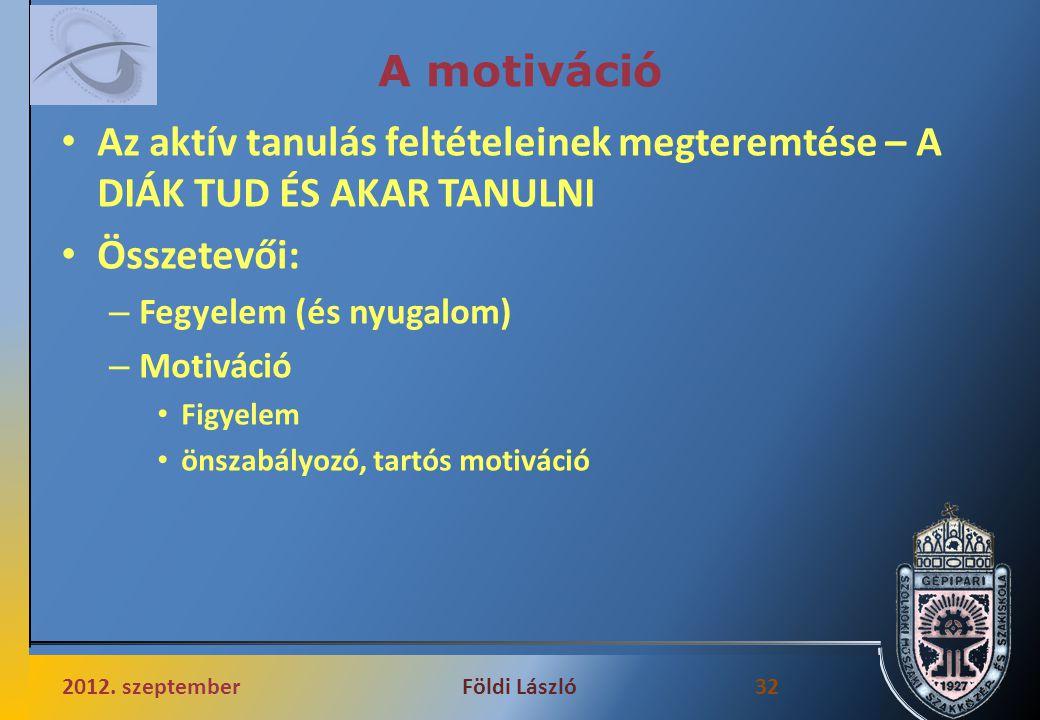 A motiváció Az aktív tanulás feltételeinek megteremtése – A DIÁK TUD ÉS AKAR TANULNI Összetevői: – Fegyelem (és nyugalom) – Motiváció Figyelem önszabályozó, tartós motiváció 2012.