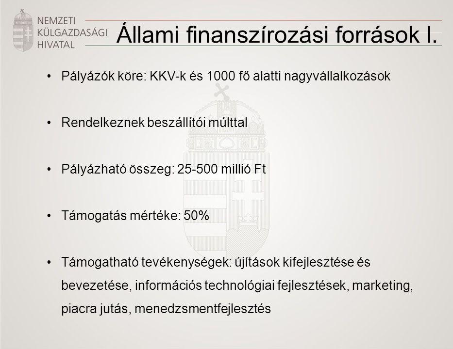 Pályázók köre: KKV-k és 1000 fő alatti nagyvállalkozások Rendelkeznek beszállítói múlttal Pályázható összeg: 25-500 millió Ft Támogatás mértéke: 50% T