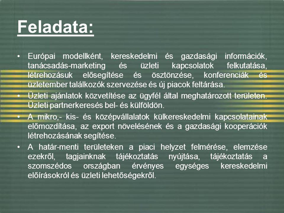 Feladata: Európai modellként, kereskedelmi és gazdasági információk, tanácsadás-marketing és üzleti kapcsolatok felkutatása, létrehozásuk elősegítése