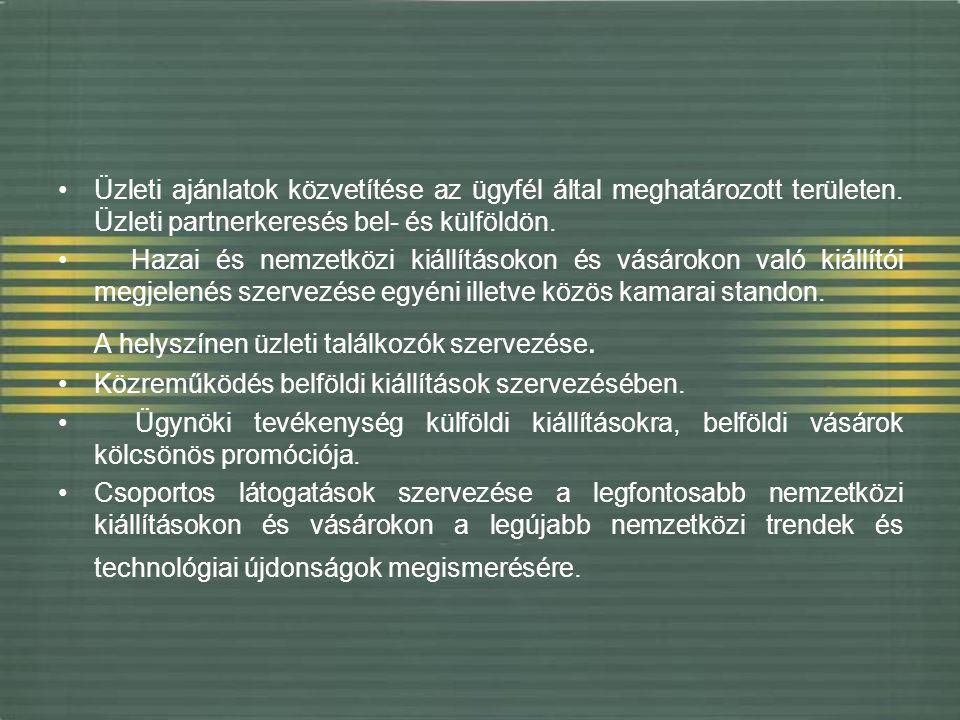 Üzleti ajánlatok közvetítése az ügyfél által meghatározott területen. Üzleti partnerkeresés bel- és külföldön. Hazai és nemzetközi kiállításokon és vá