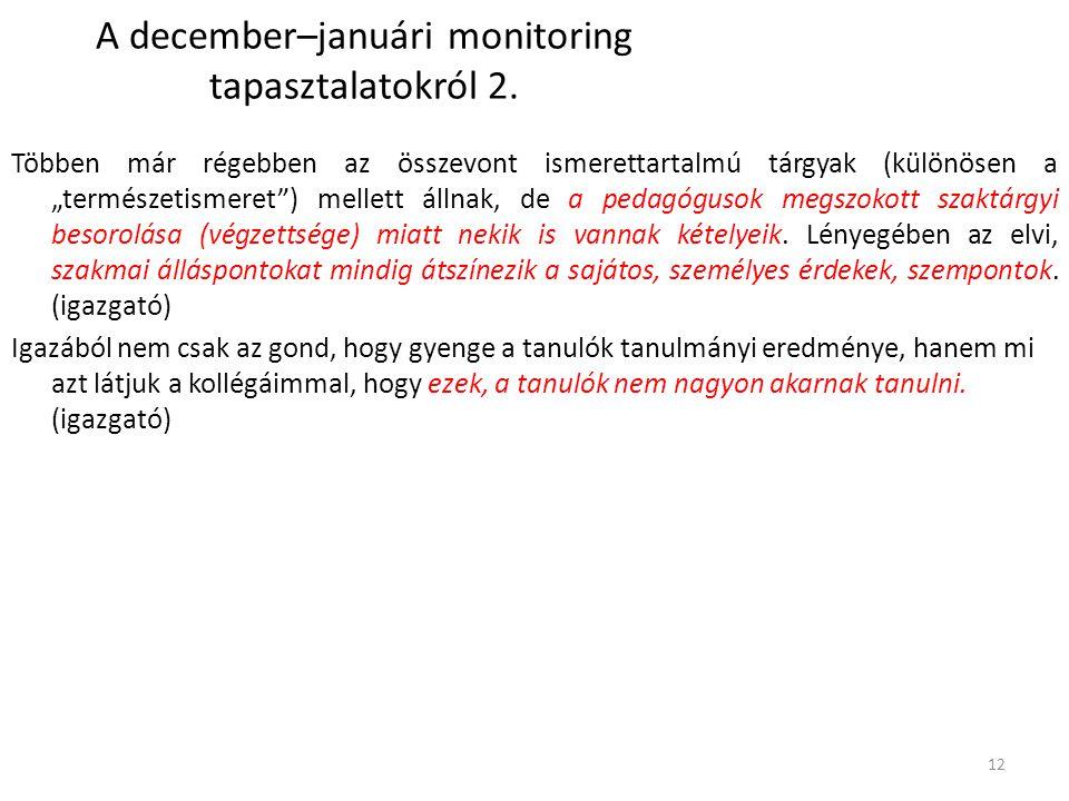 A december–januári monitoring tapasztalatokról 2.