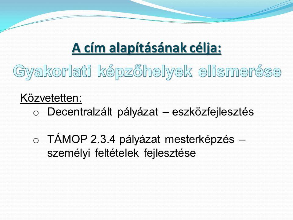 A cím alapításának célja: Közvetetten: o Decentralzált pályázat – eszközfejlesztés o TÁMOP 2.3.4 pályázat mesterképzés – személyi feltételek fejlesztése