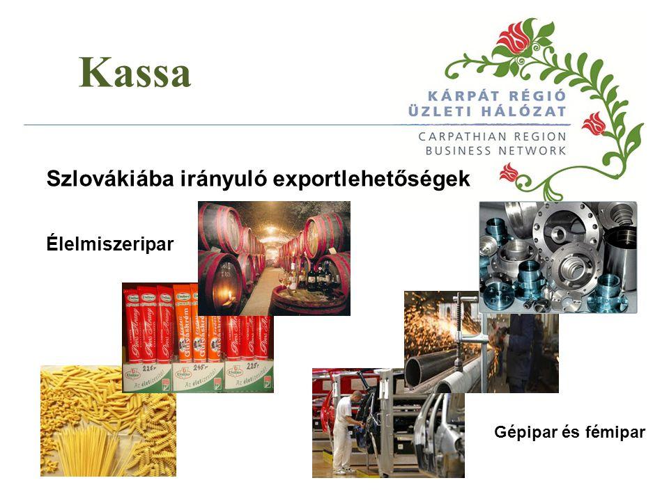 Kassa Szlovákiába irányuló exportlehetőségek Élelmiszeripar Gépipar és fémipar