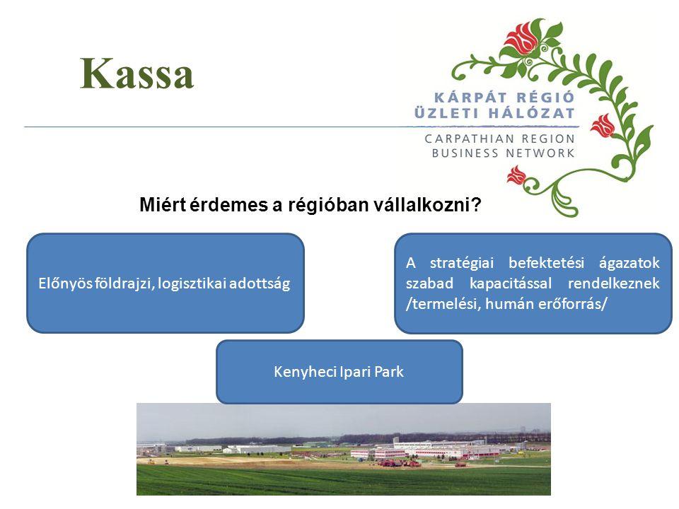 Kassa Miért érdemes a régióban vállalkozni? A stratégiai befektetési ágazatok szabad kapacitással rendelkeznek /termelési, humán erőforrás/ Kenyheci I