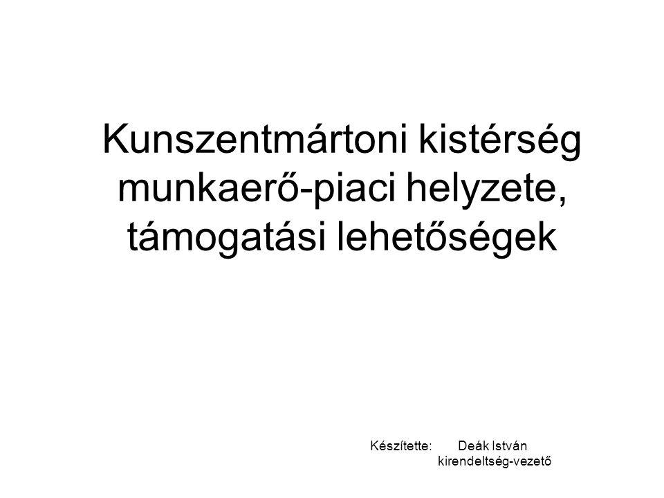 Kunszentmártoni kistérség munkaerő-piaci helyzete, támogatási lehetőségek Készítette: Deák István kirendeltség-vezető
